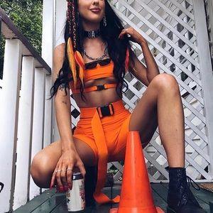 Pants - Rave Outfit - Neon Orange Buckle Set